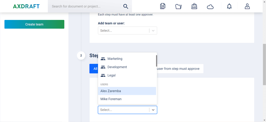 AXDRAFT Add Users to Approval Flow