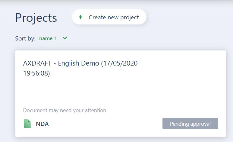 AXDRAFT Create new project