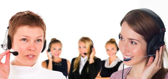 Trabalhadoras em call center