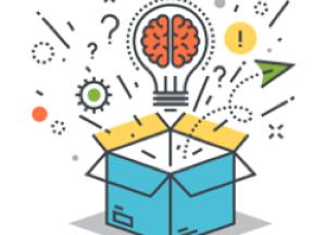 Desenho de caixa da qual saltam ideias e um cérebro dentro de uma lâmpada.