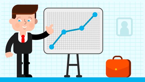 """Desenho de um executivo apontando para um quadro com um gráfico de linha indicando crescimento do indicador – Clique em """"Autorizar imagens"""" para ver."""