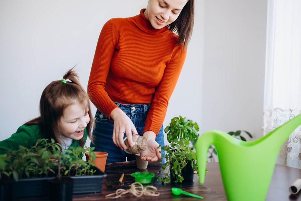 Woman and daughter planting indoor vegetable garden