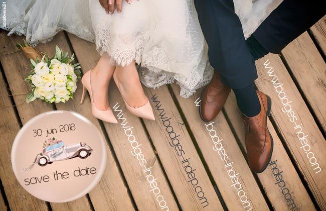 Badge mariage magnet frigo personnalisé