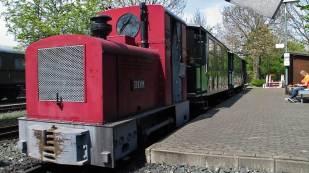 Eine Feldbahn mit Personenwagen befährt auf dem Freigelände einen Rundkurs.