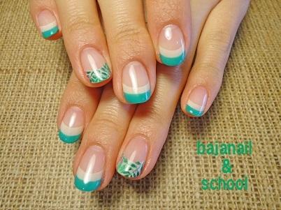 ジェルネイル新緑のボタニカルデザイン