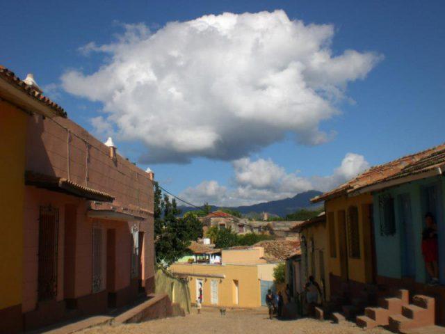 Sunny street in Trinidad, Cuba