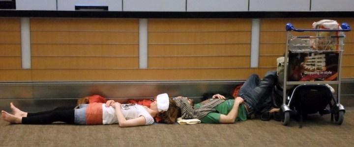 Sleeping on an airport floor