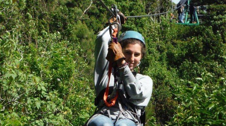 A woman enjoying the Monteverde Zipline