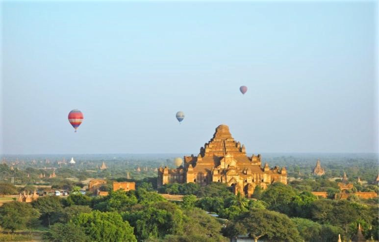 Bagan with Hot Air Balloons famous ancient ruins in Asia