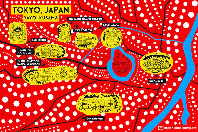 Yayoi Kusama- Famous artists draw their hometown maps