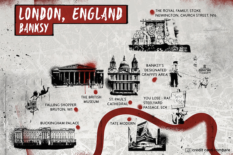 Banksy- Famous artists draw their hometown maps