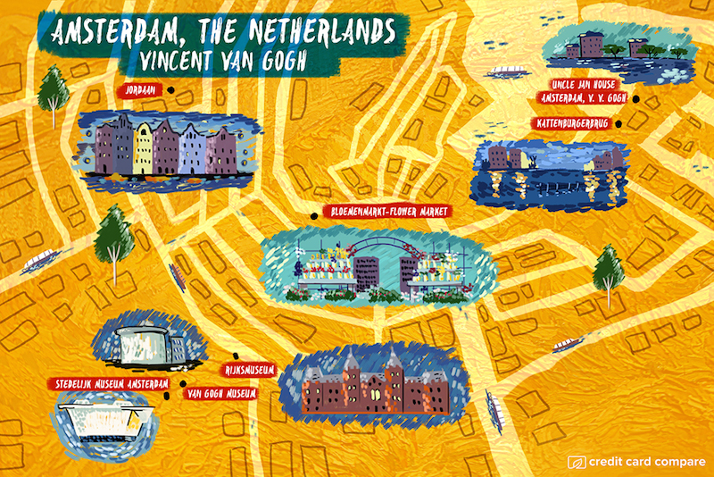 Vincent Van Gogh- Famous artists draw their hometown maps
