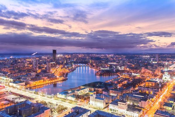 View of Ekaterinburg at night from above