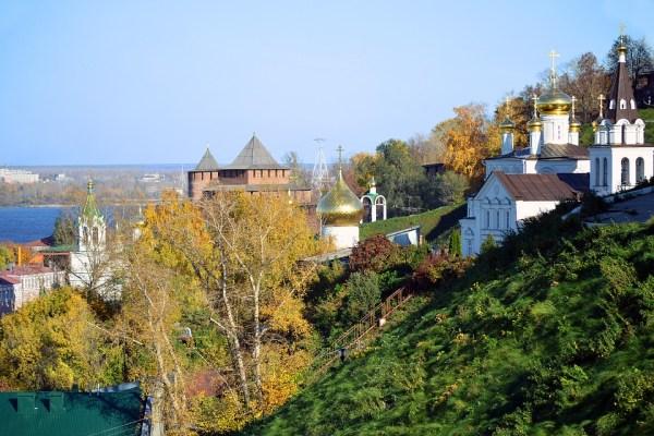 trees and rooftops in Nizhny Novgorod City Russia