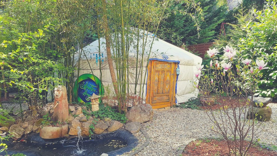 A yurt in the garden of the Shantee House Hostel in Hungary