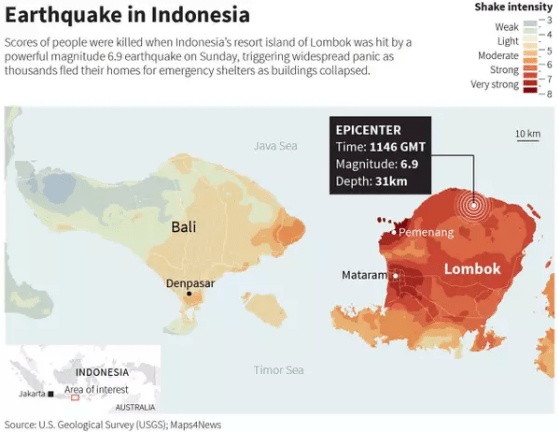 Map of Bali and Lombok with epicentre location for one of the quakes