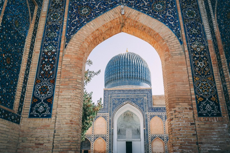 How could you feel unsafe ina place as beautiful as this, blue tiled mosque in Uzbekistan.