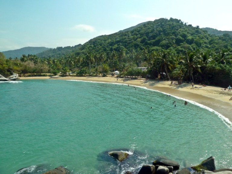 View of mountains, beach and Ocean in Tayrona National Park