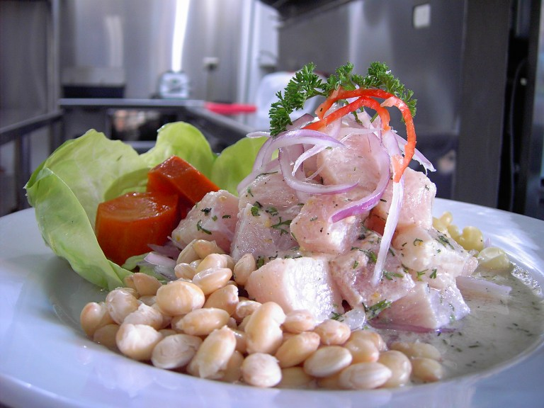 A plate of ceviche and salad, the most popular Peruvian food.