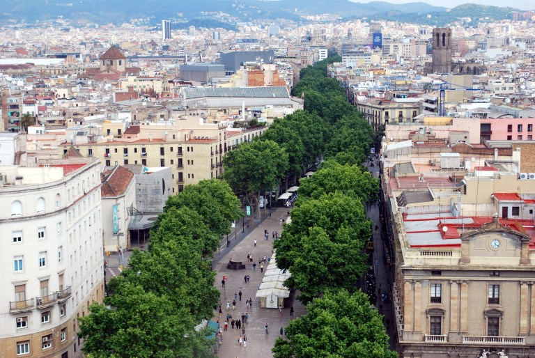 La Rambla, a popular tree lined street in Barcelona Spain