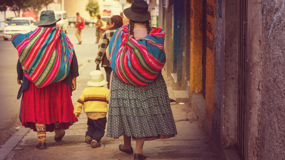 Local people on the street in Bolivia
