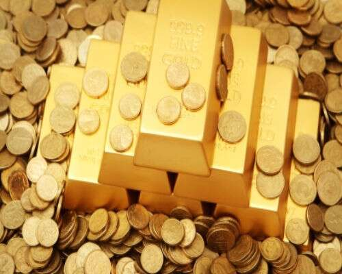 Gold ingots and coins