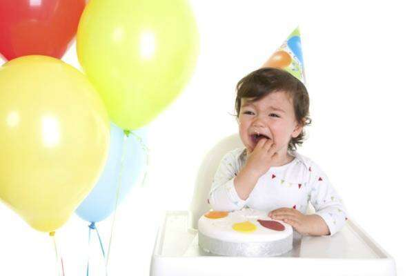 Baby crying in a birthday party