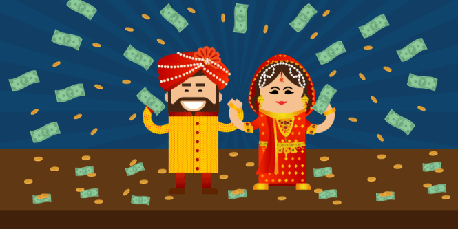 Bride and Groom with money