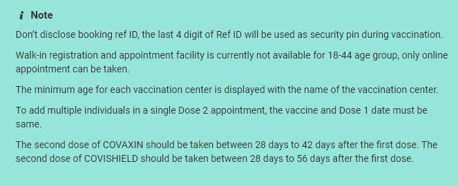 CoWin Vaccine Guidelines