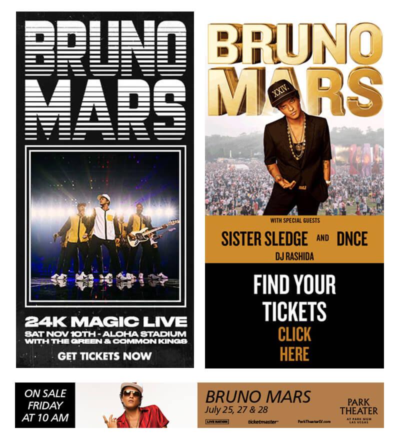 biểu ngữ mars bruno cho buổi hòa nhạc