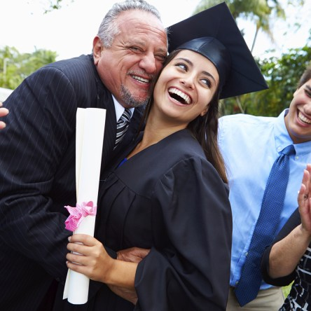 college graduate with family
