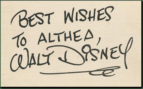 Hank Porter Secretarial Signature for Walt Disney