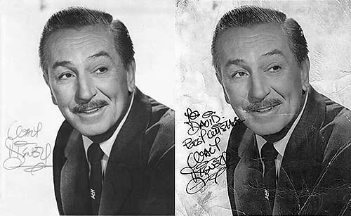 Two Bob Moore Secretarial Signature for Walt Disney