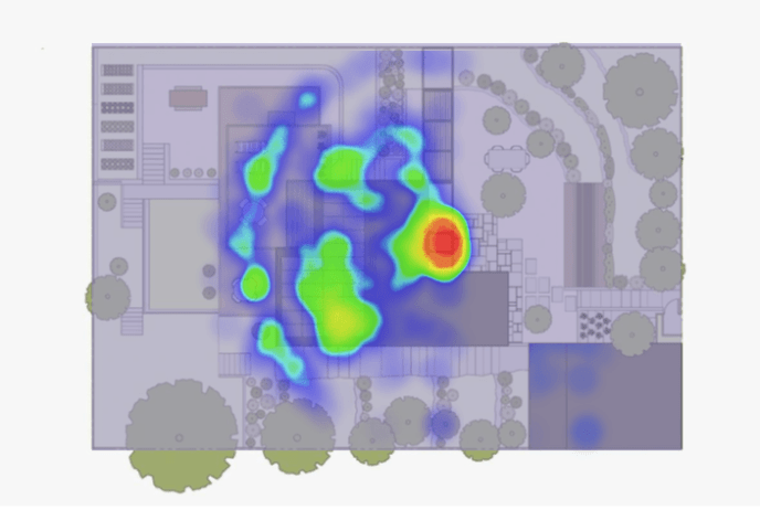 Heat map of house plan for real estate using beacons