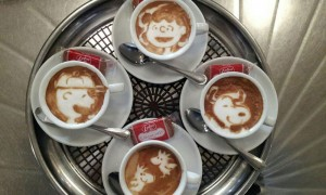 cartoon latte art
