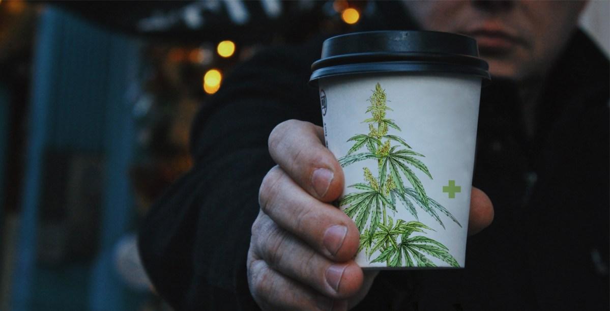 Coffee cup with cannabis illustration –CBD Coffee