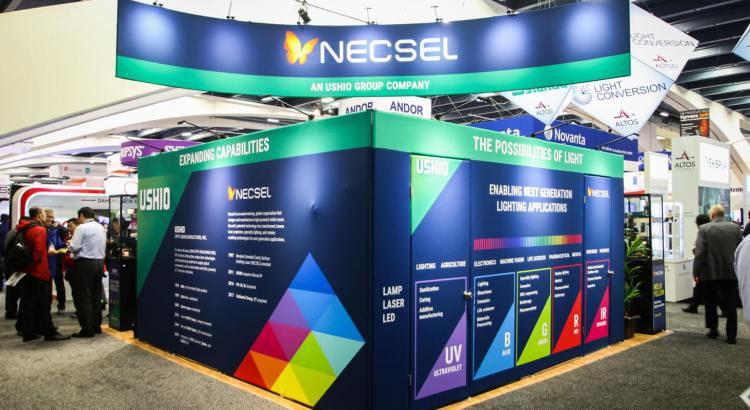 20'x20' Tradeshow Exhibit and Hanging Sign Fabric Graphics for Ushio America, Inc.