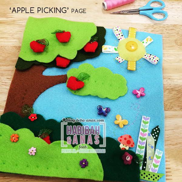 quiet book - apple picking page