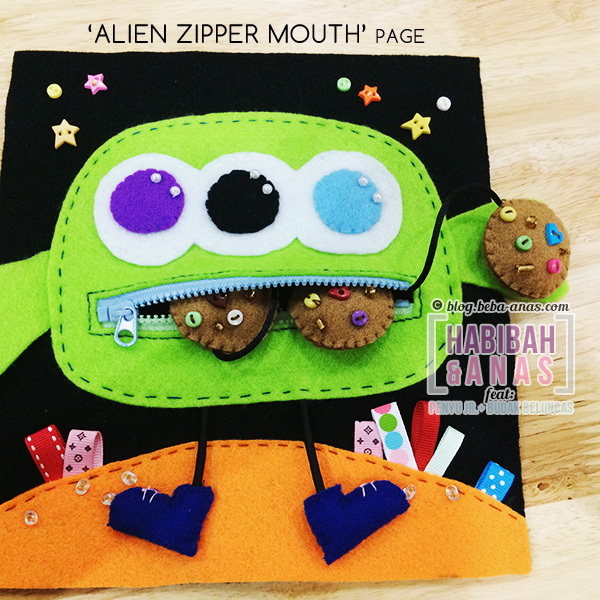 quiet book - alien zipper page