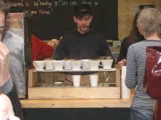 This coffee stand, one of two locations in the market, was so popular it had lines wrapping around the block. They make individual cups of drip filter coffee, pouring water into the funnels on top, letting it drip into cups below.