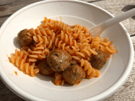 Screws, tomato sauce, meatballs