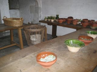 The room for basic food preparation.