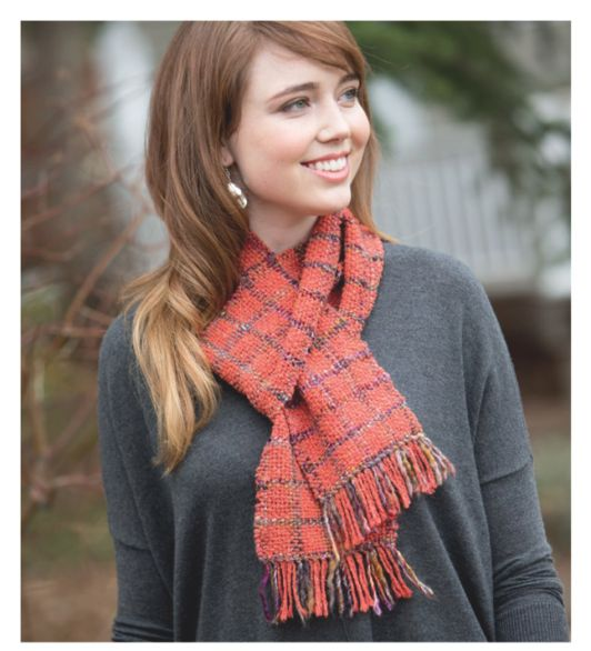Win the book, Woven Scarves by Jane Patrick & Stephanie Flynn Sokolov & we'll give you the yarn to make this scarf!