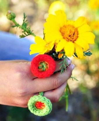 Whimsical Wheel Ring crocheted in Weekend DK