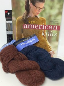 prize includes: copy of New American Knits, Berroco Ultra Alpaca #6280 Mahogany Mix & #6288 Blueberry Mix (1 hank each) and a set of ChiaGoo 6 inch double pointed needles size US 3