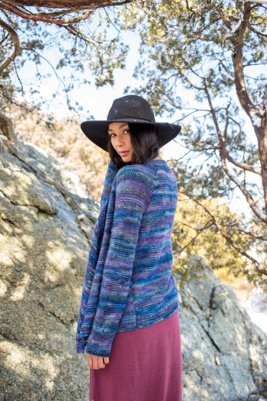 Cilka cardigan knitting pattern knit in Berroco Millefiori