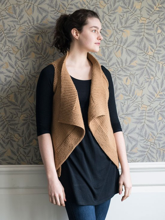 Brooklin Vest knitting pattern in Berroco Vintage Chunky