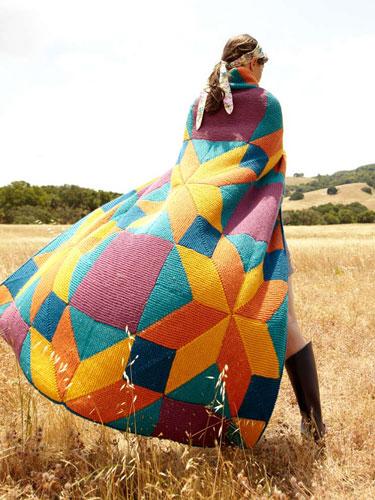 Bright Star blanket knitting pattern in Berroco Comfort