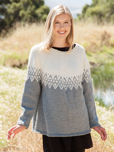 Sierra Point Sweater knitting pattern by Lena Skvagerson, knit in Berroco Ultra Wool