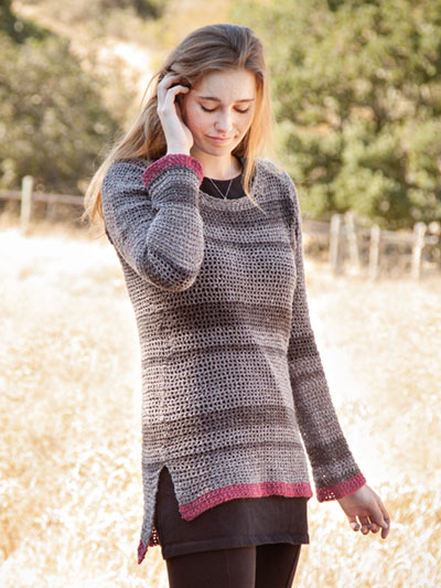 Casmalia Sweater crochet pattern by Tammy Hildebrand, crocheted with Berroco Remix Light